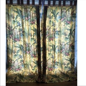 Vintage Formal Tropical Safari Drapes 54x95""